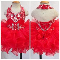 2018 Carino Halter Pageant Cupcake Abiti Neonate Organza Perline Mini abito Toddler Principessa Ruffles Tutu Dress Infant Girls Short Wear
