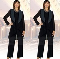 Wholesale Cheap Purple Suits - Black Long Jacket 2015 Mother of the Bride Pant Suits with Long Sleeve Plus Size Three-Piece Mother's Formal Wear Evening Groom Gowns Cheap