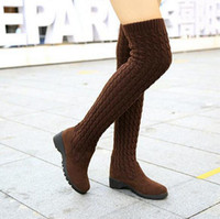 Wholesale Womens Vintage Heels - Womens Thigh-High Boots Trend Vintage Fashion Boots For Women Nubuck Leather + Woolen Yarn Patchwork Woman Knight Boots Retail
