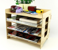 Wood organized office - Fashion Creative Wooden DIY Collection Organizer Desktop Storage Oversize Wooden Home Office Desk Organize with layers EB DJ15616