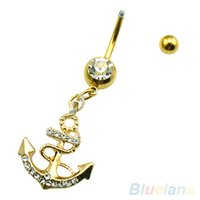 Wholesale Body Jewelry Anchors - Body Piercing Rhinestone Anchor Pirate Hook Pendant Belly Navel Ring Barbell 2MXX