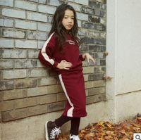 Wholesale Kids Leggings Big Girls - Big Girls casual outfits children letter printed long sleeve pullover+stripe leggings skirt pants 2pcs sets winter kids warmer clothing R152