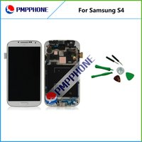 Wholesale Display S4 Blue - Samsung Galaxy S4 i9500 9505 I545 I337 White and blue LCD Display Touch Screen Digitizer Assembly with Frame with fast shipping