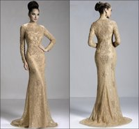 Wholesale Zuhair Murad Vestidos - Fashion Vestidos Gold Long Sleeve Evening Dress Merimaid Zuhair Murad Evening Dresses 2015 Jewel Floor Length Formal Party Prom Dresses