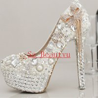 Wholesale Strap Heels Women - Sparkling White Crystal Pearls Wedding Shoes With Tassels Round Toe 12cm 13cm 14cm High heel Platform Bridal Gown Party Pumps For Women 2016