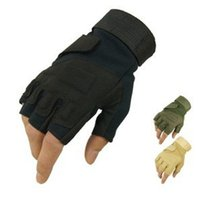 Wholesale Tan Fingerless Gloves - Wholesale-BlackHawk hell storm S.O.L.A.G tactical gloves (half finger) sports gloves black, OD, Tan