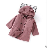 Wholesale Kids Purple Trench Coat - Children trench coat girls woolen princess coat kids rabbit ear hooded thicken parka winter girl double breasted warm outwear R0726