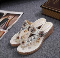 Wholesale Black Beaded Flip Flops - 2016 summer new national wind bohemian beaded slope with slippers heavy-bottomed beach sandals clip toe flat slippers women