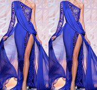 Wholesale Designed Satin Ribbons - Zuhair Murad 2016 NEW Design Evening Dresses One Shoulder Sheer Royal Blue High Side Slit Lace Crystal Prom Party Gowns Formal Dress BO9766