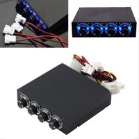 Atacado- 3.5 polegadas PC HDD CPU 4 Channel Fan Speed ​​Controller Led Cooling Front Panel Promotion Wholesale Store