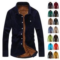 Wholesale Corduroy Shirt Dresses - New Fashion Men Corduroy Velvet Winter Warm Slim Fit Dress Casual Shirt