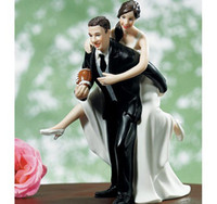 """Wholesale Football Cake Toppers - Free Shipping Romantic cake topper wedding decorations New """"Playful Football Couple """"Bride & Groom Wedding Cake Topper"""