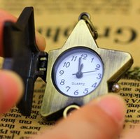 Wholesale Watches Star Shapes - 2015 hot New Star Shape Love Bronze Necklace Chain Pocket Watch Gift