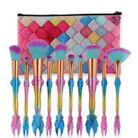 Wholesale Shipping Bags For Hair - 10pcs set Mermaid Makeup Brushes Set For Cosmetic eyeshadow Blush Blending Brush Kit with bag DHL SHIP