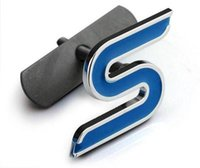 Wholesale Ford St Emblem - 1 Piece Blue Red Chrome Metal S RS ST Car Grille Styling Emblem Badge 3D Car Sticker Refitting Decal for FORD Focus Mondeo Accessory