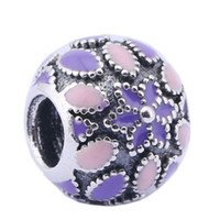 Wholesale Pandora 925 Ale Silver Charm - Sterling Silver Charms 925 Ale Pink Enameled Floral European Charms for Pandora Bracelets DIY Beads Accessories