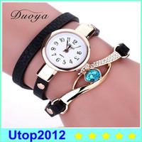 Wholesale Orange Blue Gemstones - Duoya New Brand Eye Gemstone Luxury Gold Women Bracelet Watch Dress Female PU Leather Electronic Quartz Wristwatch XR1856