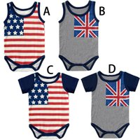 Wholesale Wholesale Character Onesies - Flag Printed Baby Romper Short Sleeve Sleeveless Summer Infant Triangle Romper Onesies Jumpsuit Climbing Baby Clothes