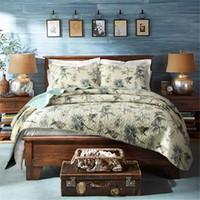 couvre-lits fleuris achat en gros de-Gros-100% coton couette couvre-lit pastorale oiseau et lit de fleurs couette 3PC ensemble roi taille housse de couette ensemble maison textiles literie ensemble