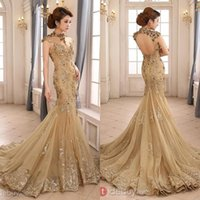Wholesale 2017 Backless High Neck With Capped Short Sleeves Champagne Long Evening Gowns Zuhair Murad Mermaid Lace Formal Dresses Evening SW03579