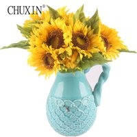 Wholesale Artificial Sun Flowers - Artificial Sun Flower 1set =7 Heads +4 Leafs Silk Real Touch Big Size Daisy Decorative Party Flowers For Home Office Garden