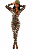Wholesale Long Sleeve Bodysuit Catsuit Jumpsuits - New Fashion Camouflage Zentai Body Suit Army Soldier Zipper Front Long Sleeve Bandage Jumpsuit Bodysuit Catsuit Overall Slim Pant S6918