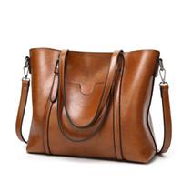 Wholesale Vintage Patent Leather Bags - Women Casual Tote Genuine Leather Handbag Bag Fashion Vintage Large Shopping Bag Designer Crossbody Bags Big Shoulder Bag Female