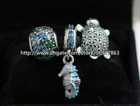 Wholesale European Bead Sterling Core - DIY Jewelry Sets 925 Sterling Silver Core Charm and Murano Glass Bead Set Fits European Pandora Jewelry Charm Bracelets & Necklaces-HJ003
