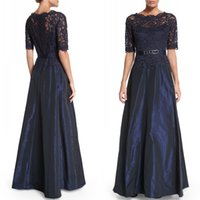 Wholesale Designer Mother Bride Gowns - 2016 Elegant Mother Off Bride Dresses Online Sexy Sheer Lace Jewel Neck Half Sleeve Stunning A Line Taffeta Designer Mother Bride Gowns