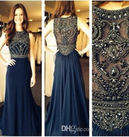 Wholesale Robe Empire Nude - Plus Size robe de soiree evening dresses 2015 New Sleeveless Scoop Neck Dark Blue Chiffon Crystals Long Prom Dresses Formal Evening Gowns