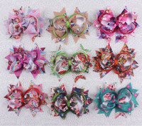 Wholesale Holiday Boutique Hair Bows - wholesale 9pcs baby girl toddler 4 inch alligator clips Boutique grosgrain ribbon bows holiday hairbows 2783-10-18