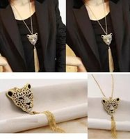 Wholesale Leopard Head Sweater - Wholesale-na098 Fashion Glaring Leopard Head Pendant Necklace Tassel Imitation Rhinestone Sweater Chain