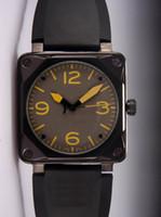 квадратные мужские часы механические оптовых-Лучший Новый Роскошный Дизайнер Мужчины Автоматический Механический Резиновый Ремешок Для Часов Швейцарский Черный PVD Нержавеющей Площади Мода Мужские Спортивные Наручные Часы