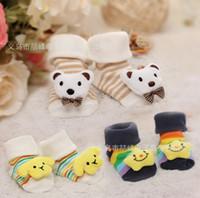 Wholesale Newborn Panda Bears - 20 pairs Cute Cartoon Star Bear Panda Soft Warm Newborn 3D Baby Socks Infant kids high quality free shipping