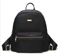 Mochilas Negras Planas Baratos-Min Fashion Black Backpack Lady Oxford simple Shoudle bag Llanura