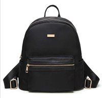 Barato Mochilas Pretas Simples-Min Fashion Black Backpack Lady Oxford simples Shoudle bag Plain