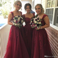 Wholesale Fall Special Occasion Dresses - 2017 Vintage Tulle A Line Burgundy Long Bridesmaid Dresses Appliques Sweetheart Special Occasion Wine Women Evening Party Gowns