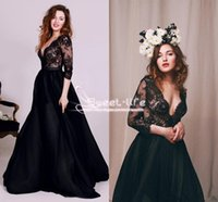 Wholesale Pregnant Evening Wear - Sexy Black 2017 Evening Dresses 3 4 Long Sleeve Vintage Lace Plunging V Neck A Line Pregnant Formal Evening Wear Custom Prom Party Gowns