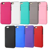 Wholesale Multifunctional Silicon - Simple Multifunctional Card Holder PC & Silicon Case Cover for iPhone 6 4.7 inch with Stand Function Shockproof Dustproof Free Shipping