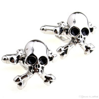 Wholesale Skull French Cuffs - Hot classic wit personality skull cufflinks Pirate Skull Squadron French cufflinks Cufflinks