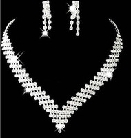Wholesale Cheap Anchor Earrings - Cheap Wedding Bridal Jewelry Sets Girls Earrings Necklace Crystals Formal Christmas Party Rhinestones Accessories 2016 Top Selling