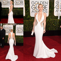 Wholesale Ribbons Awards - Kate Hudson Sexy Celebrity Dresses 2015 72nd Golden Globe Awards White Mermaid Satin Evening Gowns Hot Backless Red Carpet Dress Custom Made