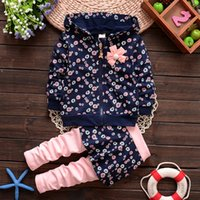 Wholesale Cotton Skirt Winter - Autumn spring kids suit girl hoodies+skirt pant set 2 pieces children long sleeve flower clothes suit 4 colors