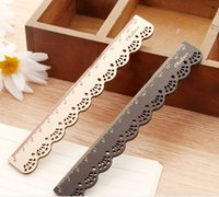 Wholesale Korea Cute Stationery Long Straight Ruler Lace Pattern Wood Ruler Sewing Ruler Children School Office Accessories
