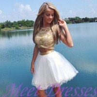 Wholesale Nude Jewels Sexy Cocktail Dresses - Fashion White and Gold Beaded Two Pieces Prom Dresses Evening Gowns Cap Sleeves Short Cocktail Club Wear Dress Party Homecoming Dresses