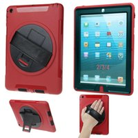 Wholesale Ipad Handheld Case - High Quality Hardshell Portable Handheld Rotating Holder Splash Resistant Case Cover For iPad2 3 4 With PU Leather Hand Strap Free Shipping