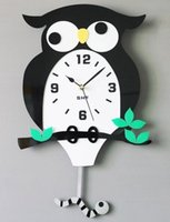 Wholesale Owl Modern Wall Clock - 040624 wall clock safe modern design digital vintage large led kitchen decorative mirror Moves the owl catch bugs