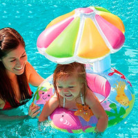 Wholesale Silicone Inflatable Girl - Boy Girl Inflatable Toddler Baby Swim Ring Infant Swimming Pool Water Float Seat with Floret Sun-shading New