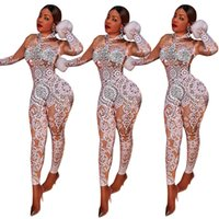 Wholesale New Club Bodysuits - Hot Sale Women New Fashion Sexy Print Skinny Jumpsuits Ladies Night Club Sexy Party Bodycon bodysuits Long Playsuits Winter Vestidos Rompers