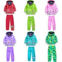 Wholesale Rainproof Clothing - Children outfits children hoodies jacket pants kids clothes coats windproof rainproof jacket Flower pants girls casual hooded trench coat